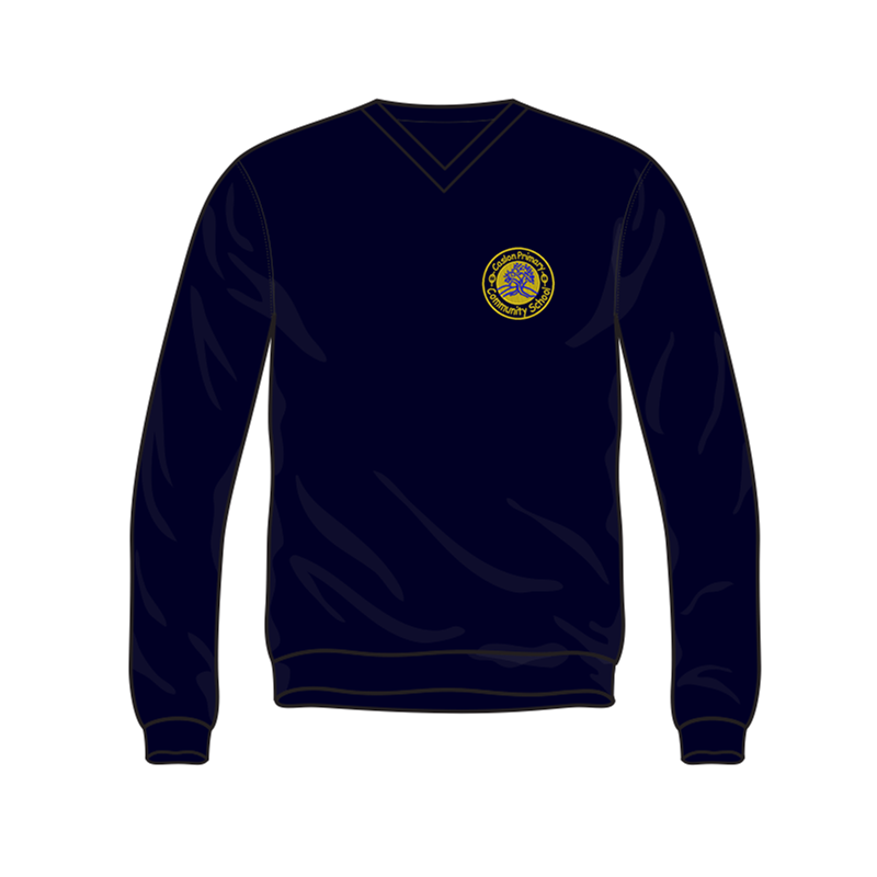 Caslon School V Neck Sweatshirt in navy, embroidered logo