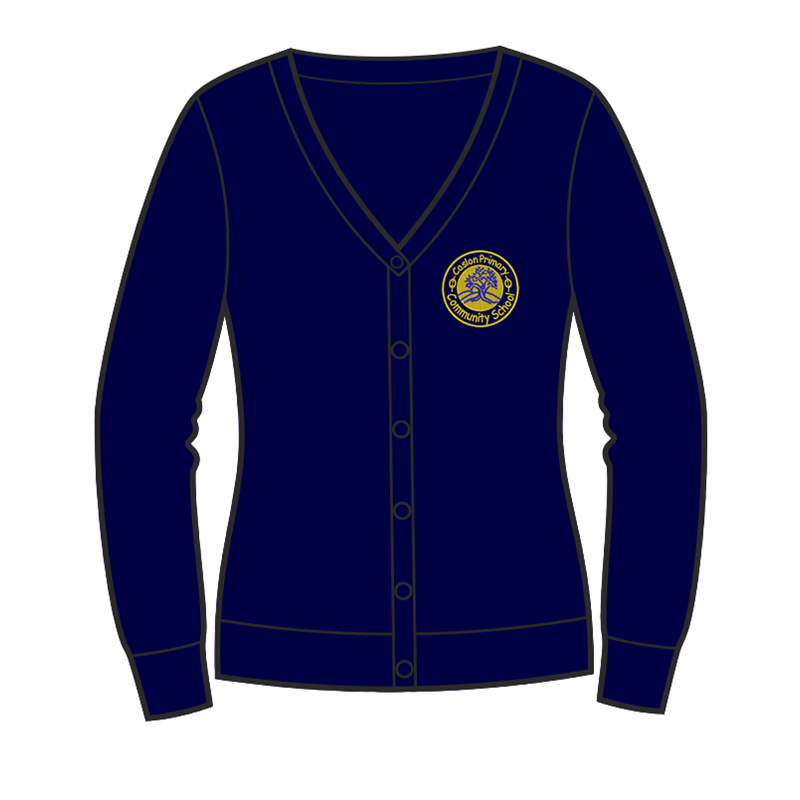 Caslon School Sweat Cardigan in navy, embroidered logo
