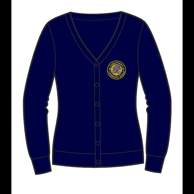 Caslon School Sweat Cardigan in navy, embroidered logo