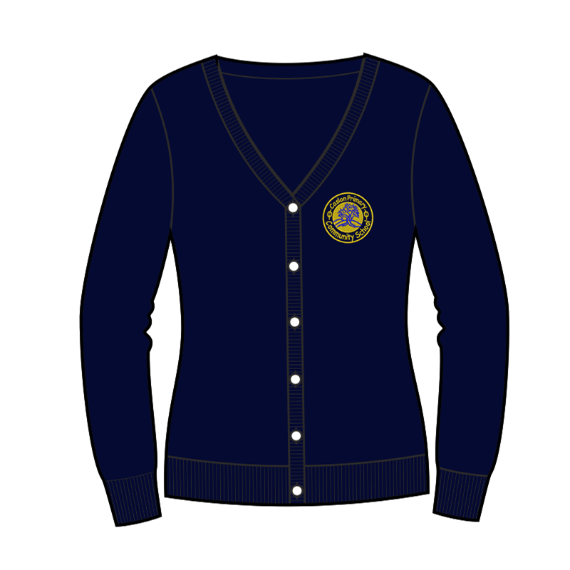 Caslon School Knitted Cardigan in navy, embroidered logo
