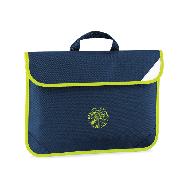 Navy Book Bag with Hi Viz trim, school logo to centre
