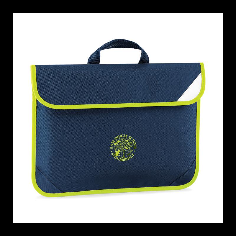Navy Book Bag with Hi Viz trim, school logo to centre