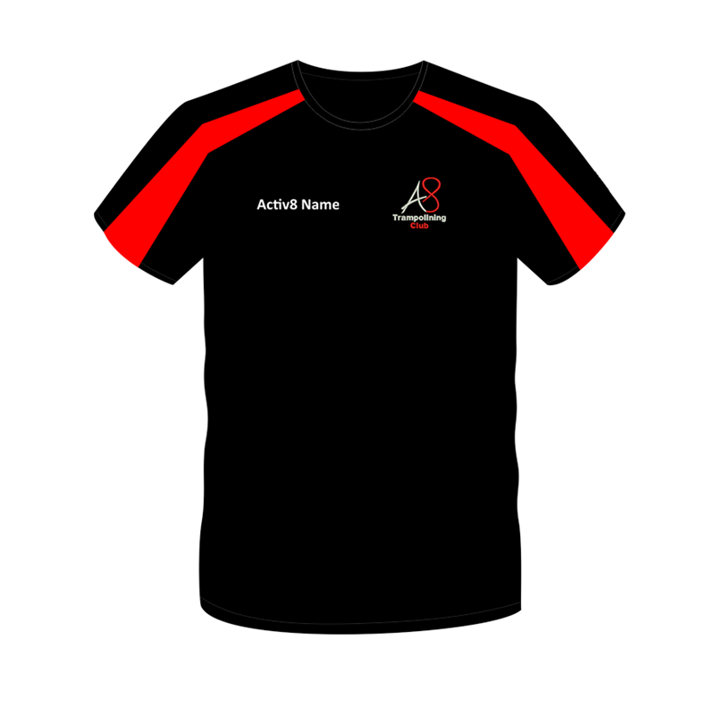 Cool T Shirt in Black/Red logo and name to the front