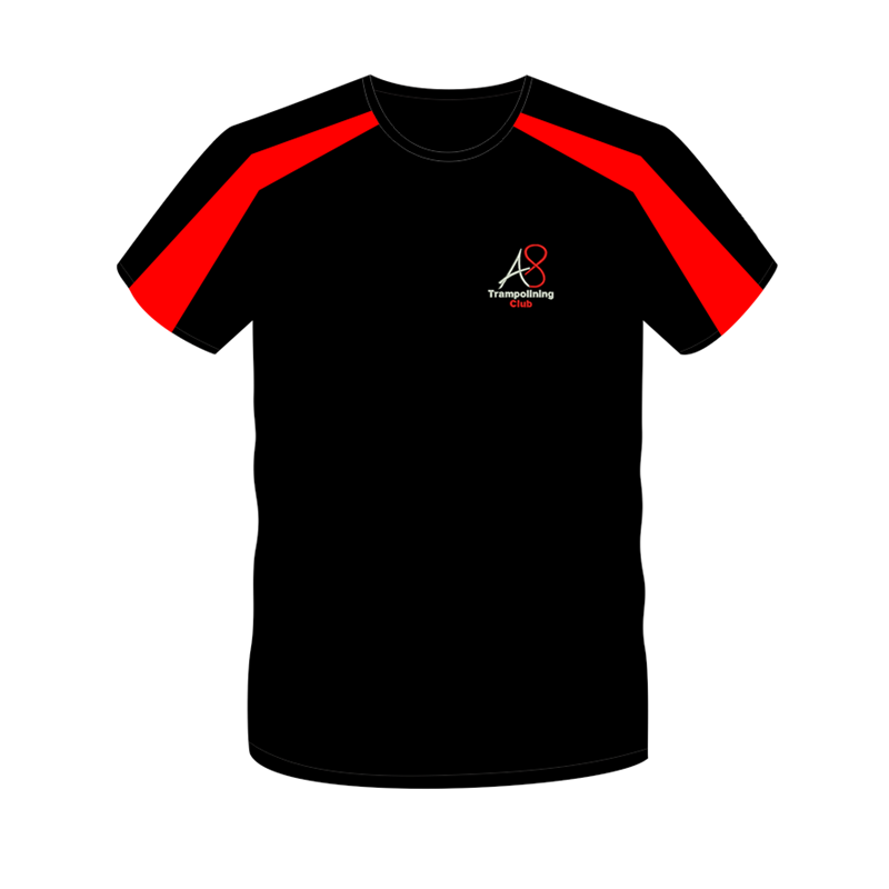 Cool T Shirt in Black/Red with logo to front only