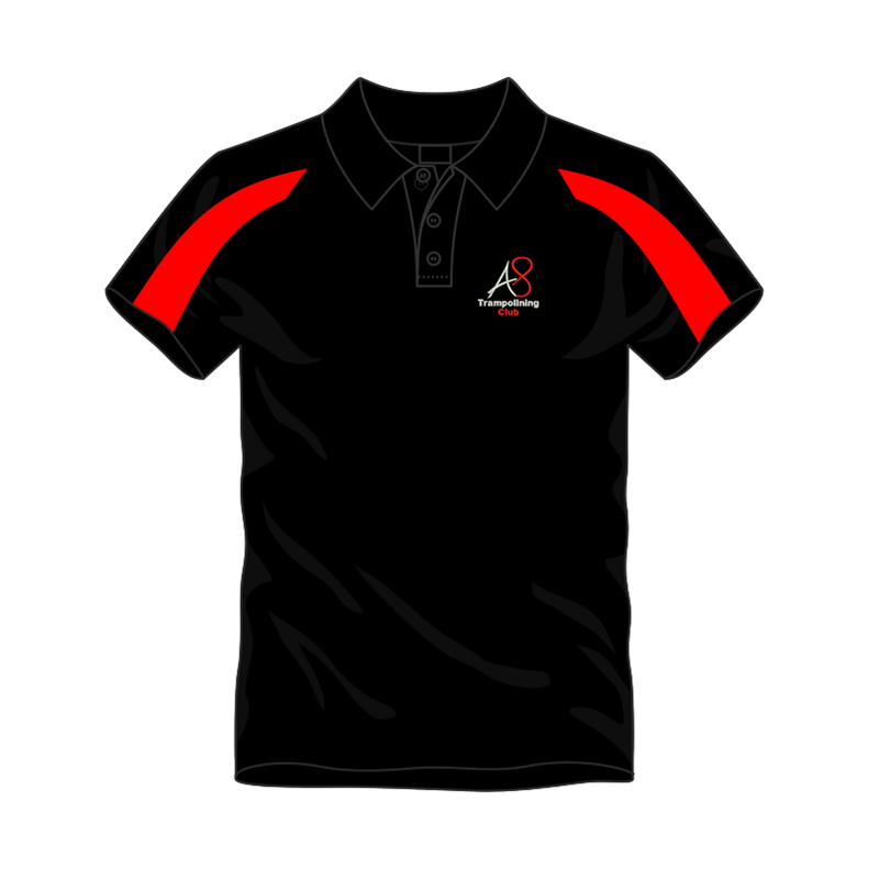 Activ8 Cool Polo in Black/Red, logo to the front