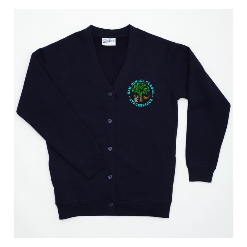 Cardigan embroidered school logo to left breast