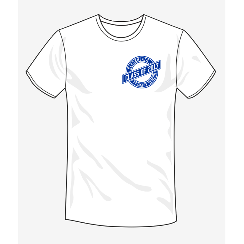 White Cotton Leavers T Shirt, printed with BHPS design to the left breast. Perfect for adding names and messages for lasting memories!