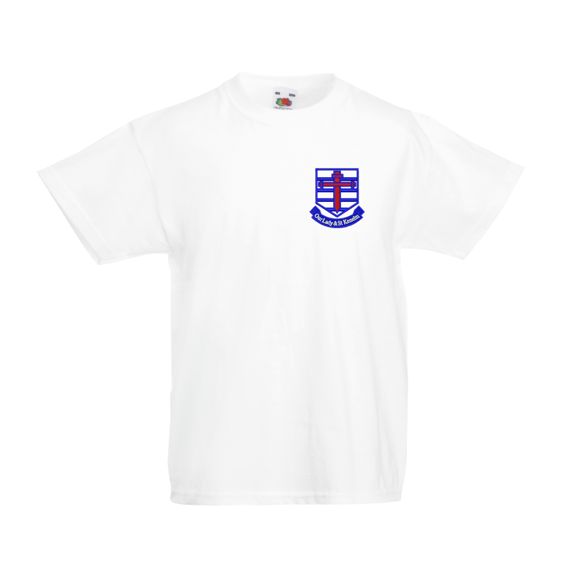 White 100% Cotton T Shirt with School logo embroidered
