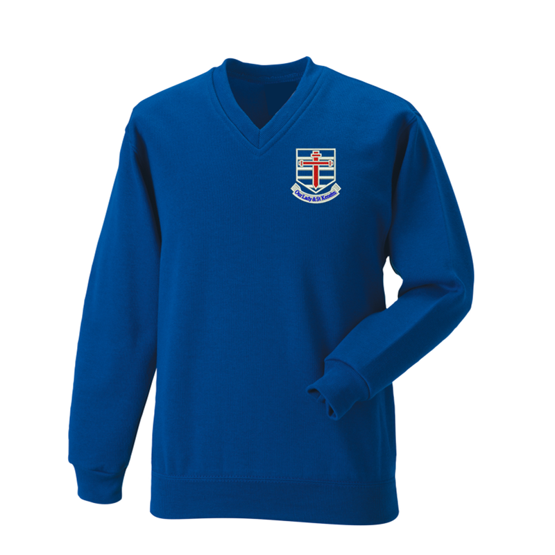 Royal Blue, V Neck Sweatshirt, with School logo embroidered to left breast