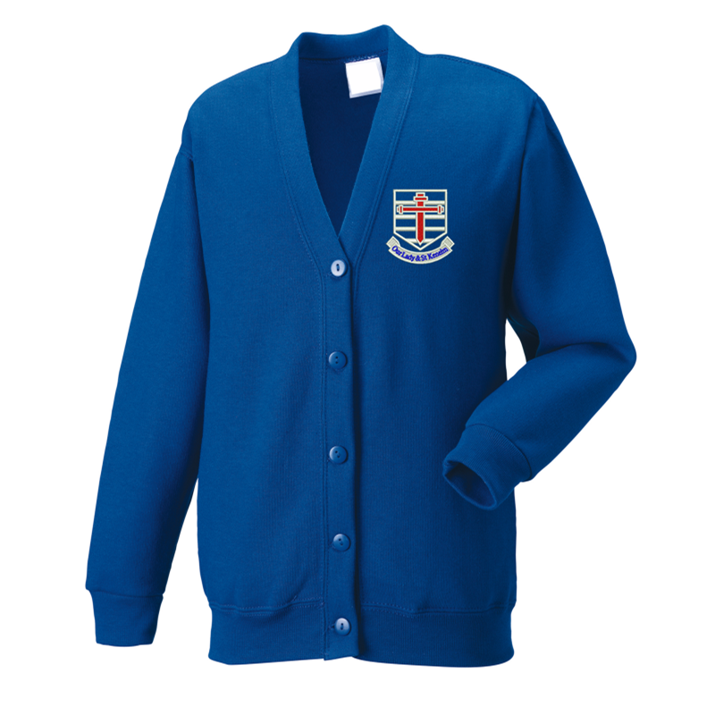 Royal Blue, Cardigan Sweatshirt, with School logo embroidered to left breast