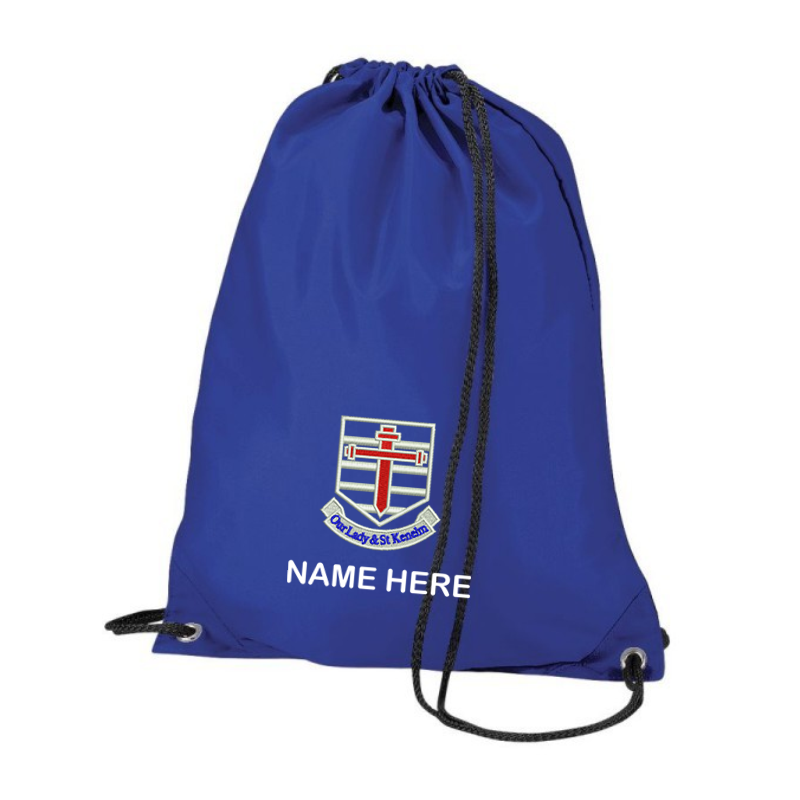 School PE Bag, logo embroidered to one side. Name printed below the logo in white.