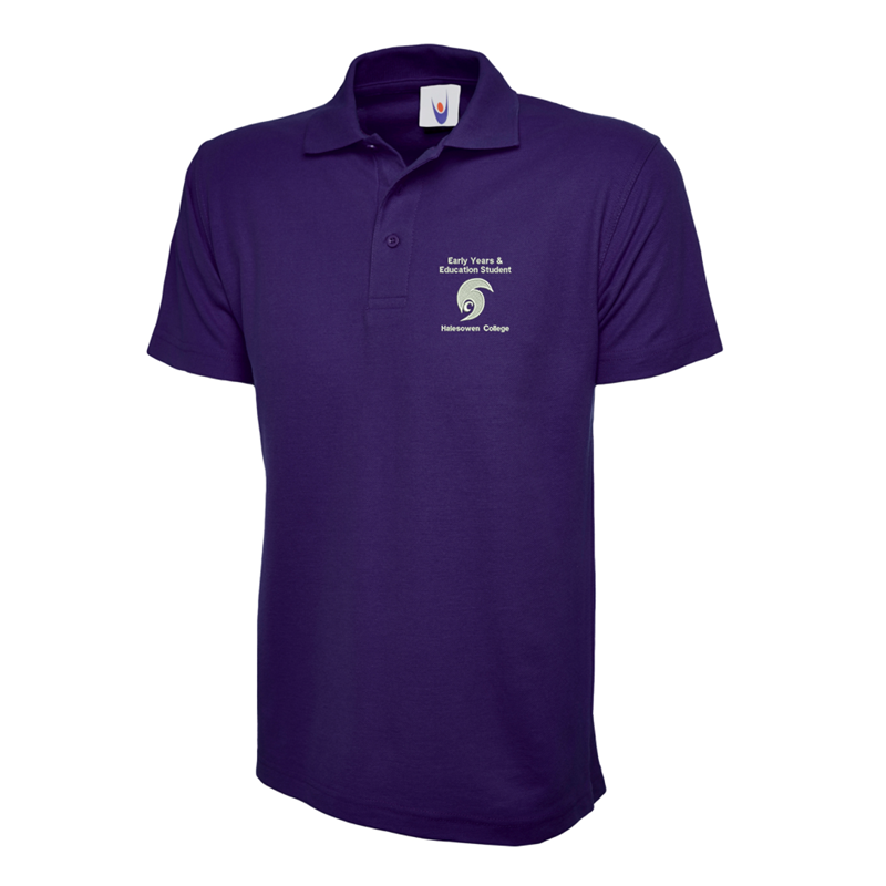 Purple Poly/Cotton Polshirt, unisex fit, embroidered with College Early Years to left breast.