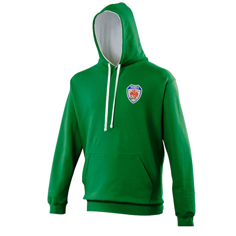 PolyCotton Contrast Hooded Sweatshirt embroidered with club logo to left breast.
