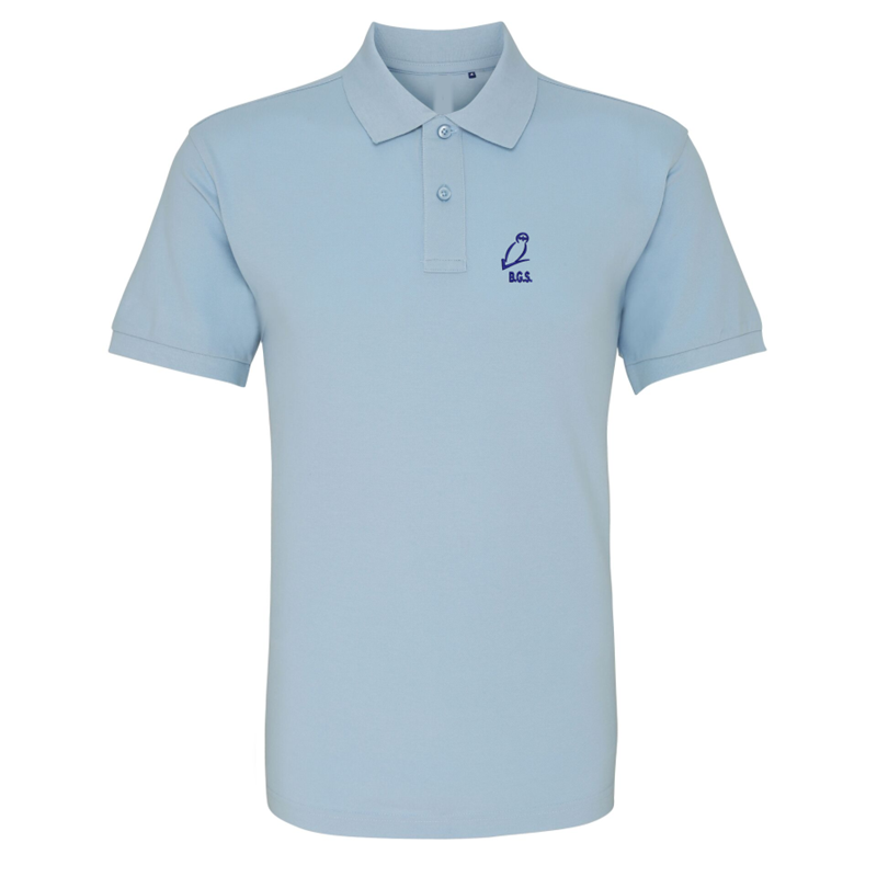 School poloshirt, 65/35 Polyester/Cotton embroidered logo to breast. Can be washed at 30 ir 40 degrees.