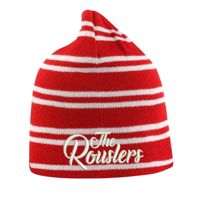 Knitted Hat Red and White stripes, embroidered logo to front