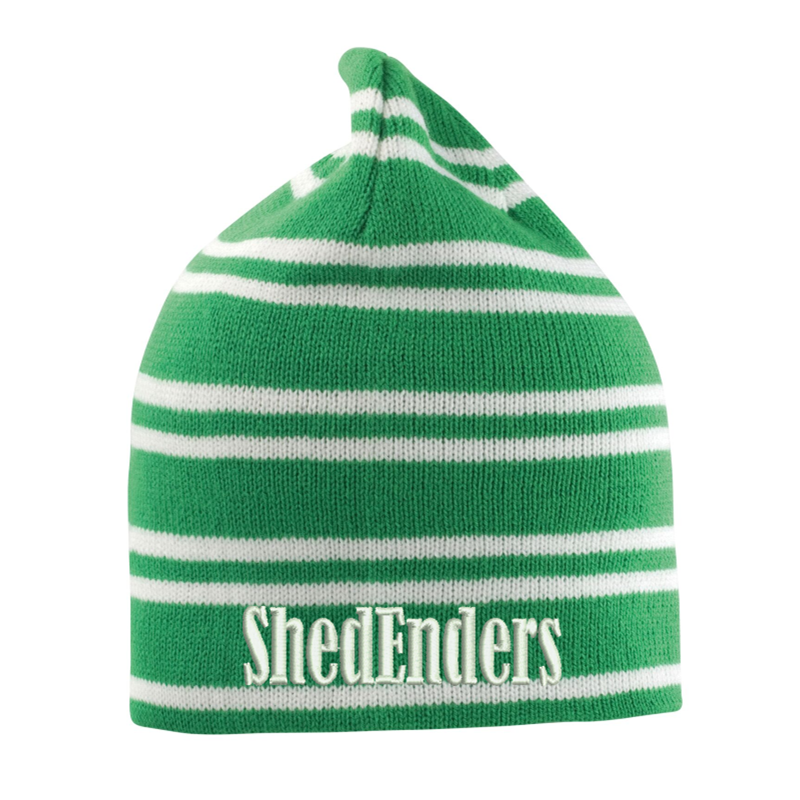 Knitted Hat Green and White stripes, embroidered logo to front