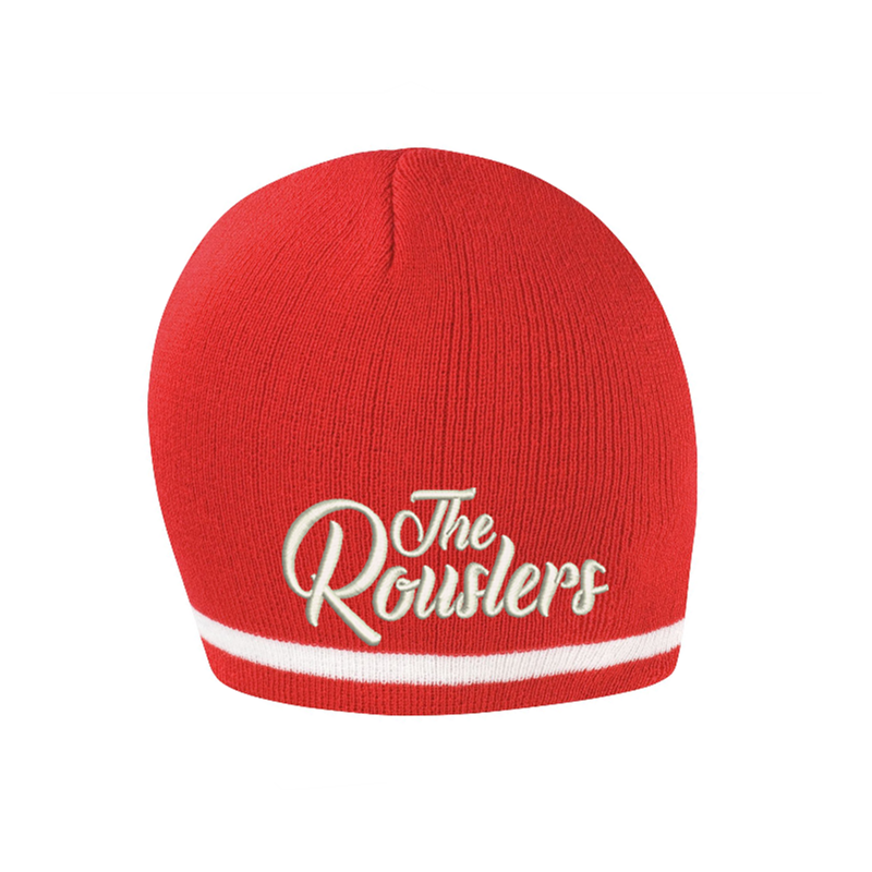 Knitted Hat Red, embroidered logo to front