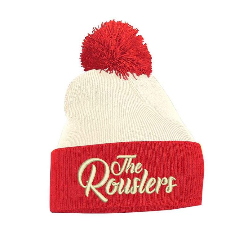 Knitted Bobble hat in off white and red embroidered with The Rouslers logo to front