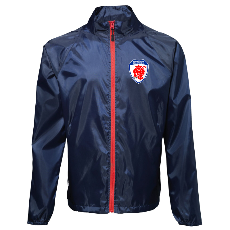 "Shower resistant jacket printed with club logo, navy with red zip trim. Sizes Small(38"") to XXL (48"")"