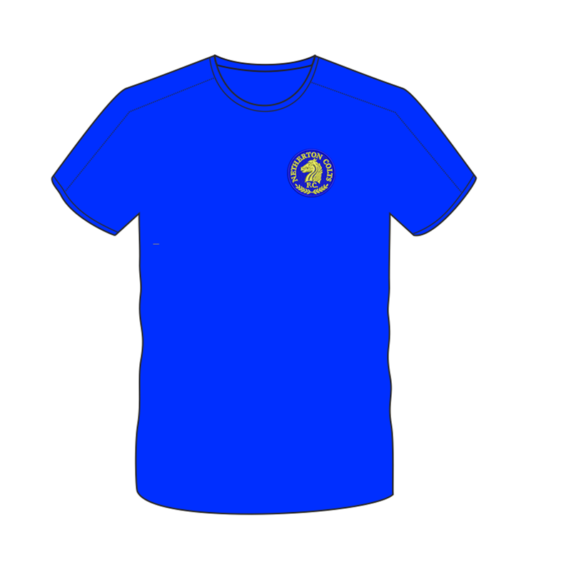 Polyester cool fabric contrast colour t shirt, embroidered with club logo to left breast and name printed to back