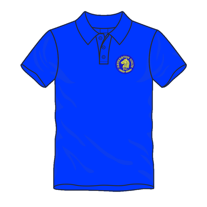 Polyester cool fabric polo shirt, embroidered with club logo to left breast and name printed to back