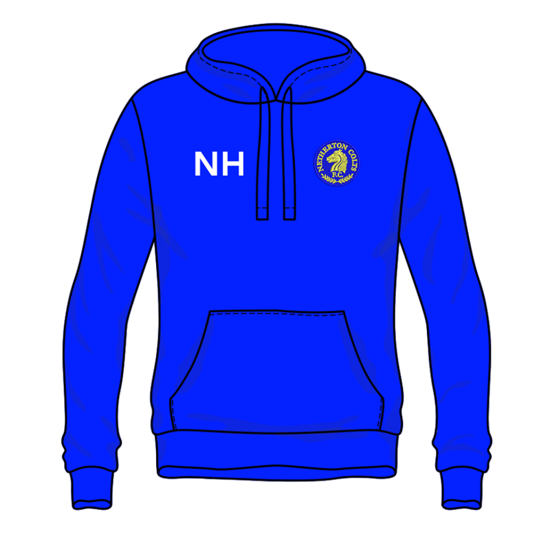 Pullover Hooded sweatshirt with club logo embroidered to left breast and name or initials to front