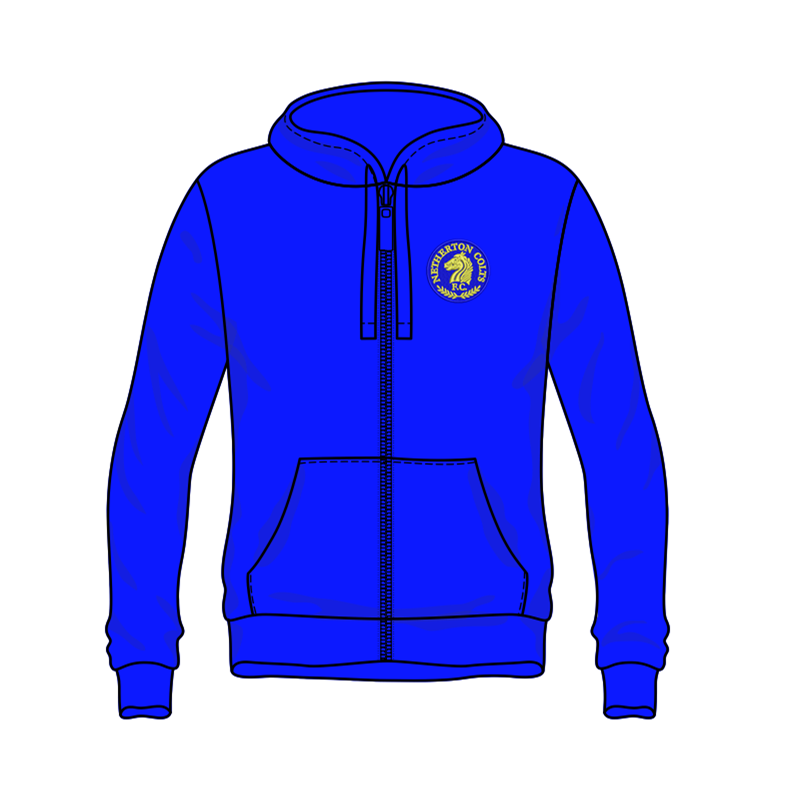 Pullover Zip Through Hooded sweatshirt with club logo embroidered to left breast.