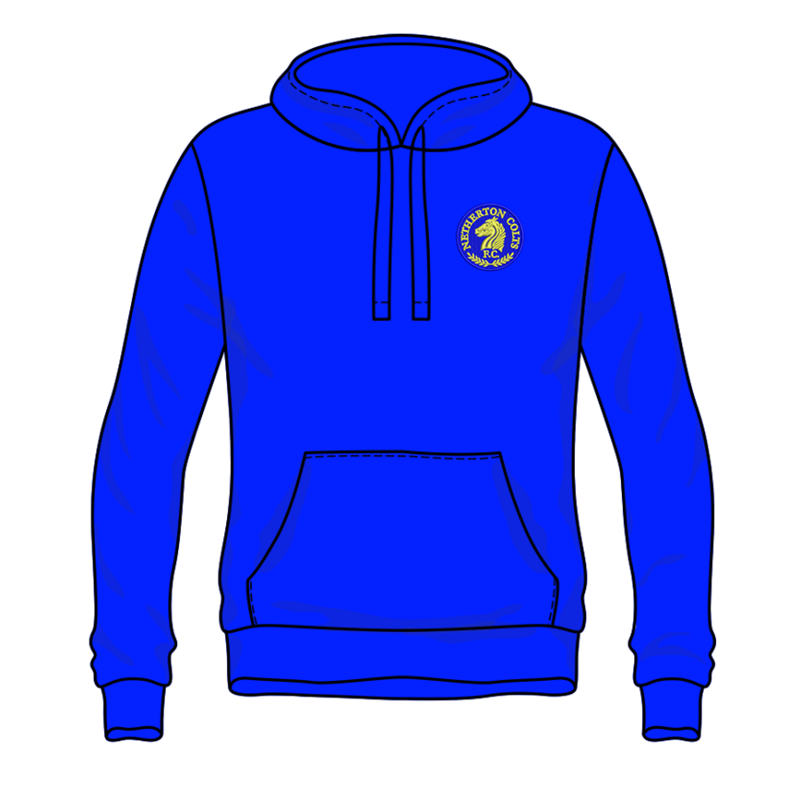 Pullover Hooded sweatshirt with club logo embroidered to left breast.