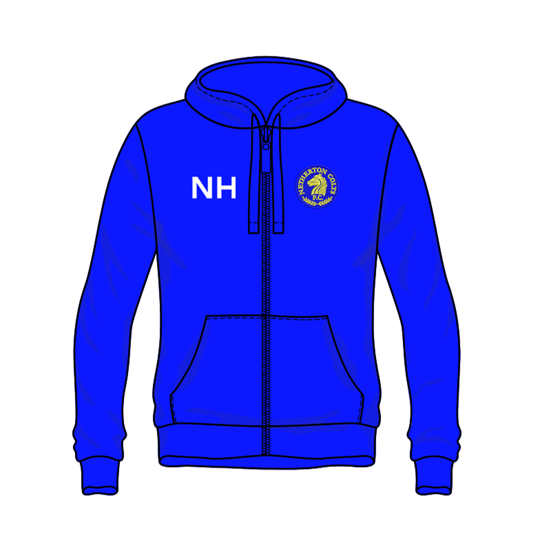 Pullover Zip Through Hooded sweatshirt with club logo embroidered to left breast and name or initials to front