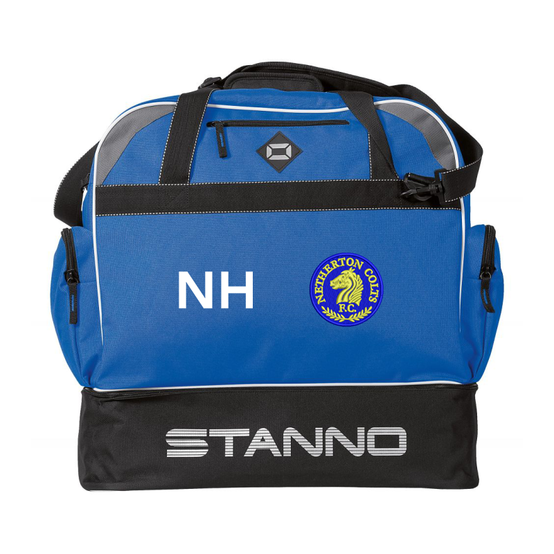 Sports Holdall, with zipped compartment for boots or training gear at the bottom; embroidered club logo and printed initials to one side.