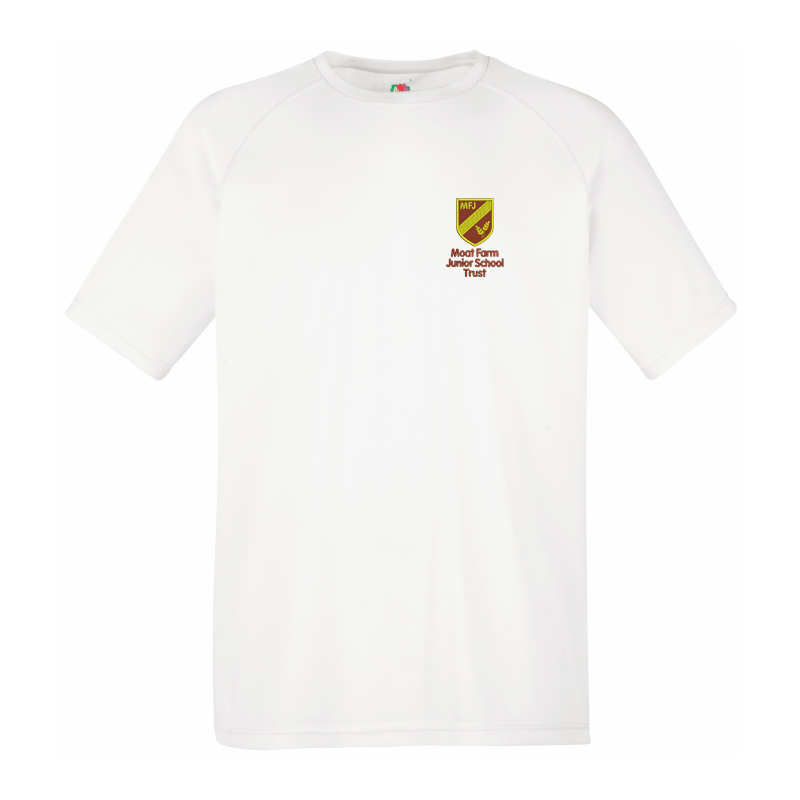 Kids Performance  T Shirt in white with logo left breast