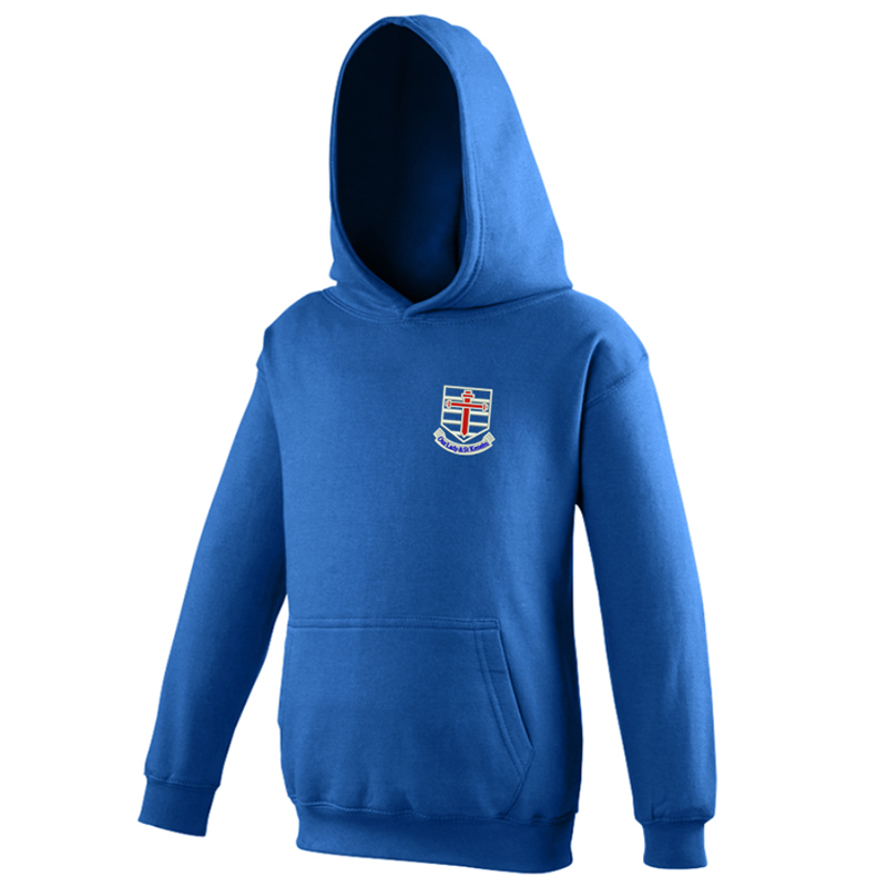 Royal hooded sweatshirt with School logo to left breast