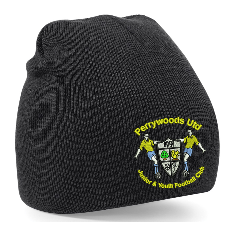 Knitted beanie hat with club logo to front