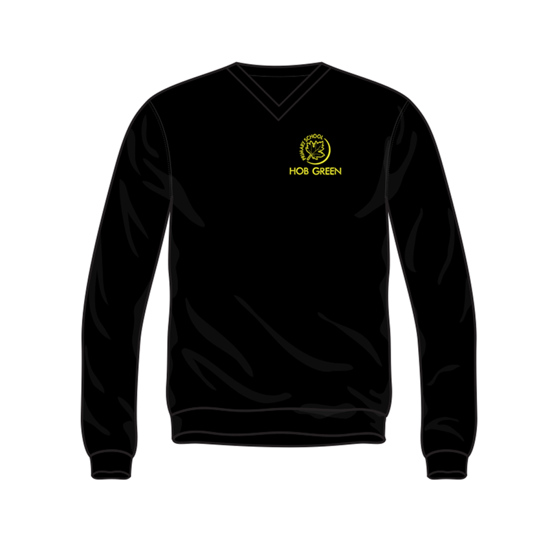 Hob Green Black V Neck Sweat with embroidered logo