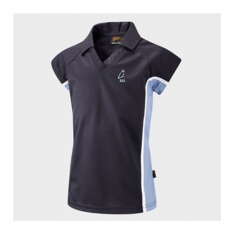 Polyester poloshirt with school logo, fitted style to suit girls.