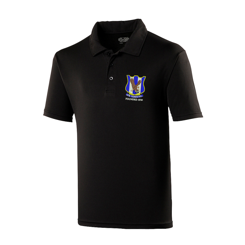 Polyester Poloshirt embroidered club logo.