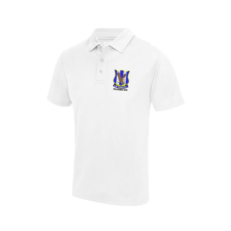 Polyester poloshirt embroidered club logo left breast.