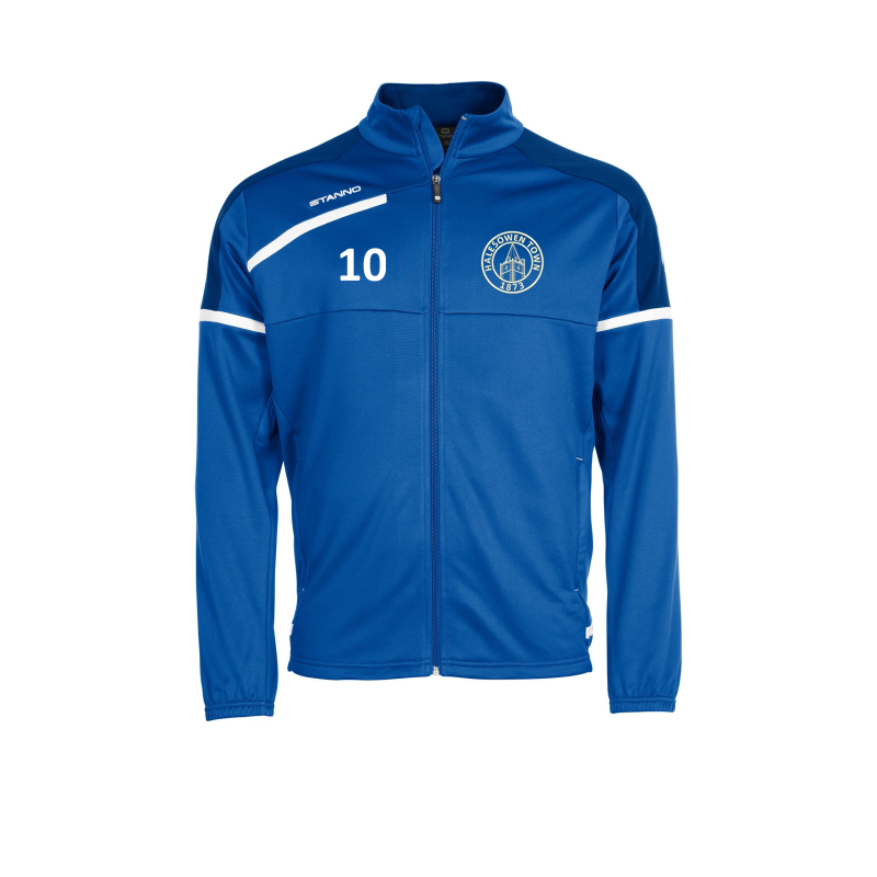 Academy Tracksuit top, Royal Blue, embroidered club logo and your chosen number to right breast.