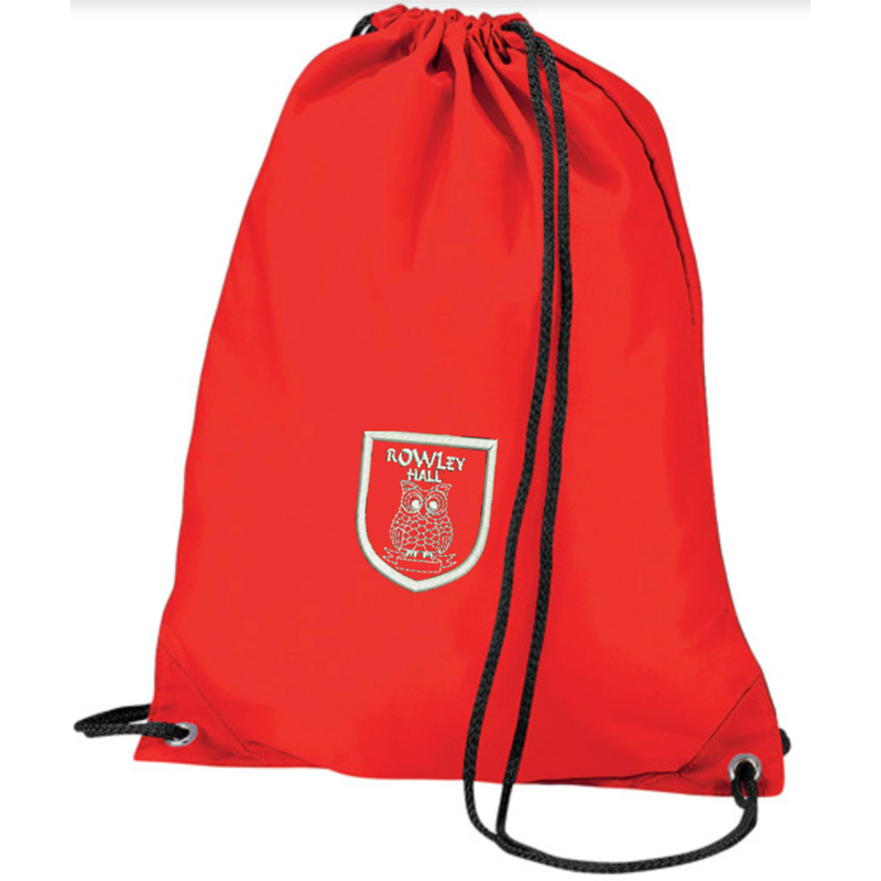 Red drawstring bag, ideal for PE, embroidered School logo to front.