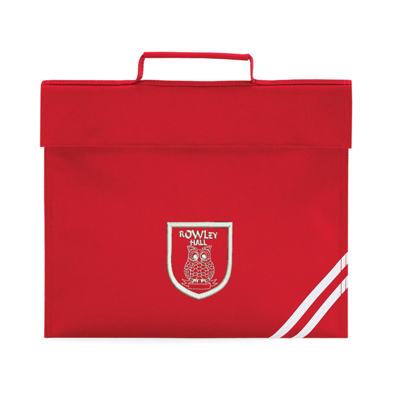 Classic Book Bag in Red embroidered School logo to one side.