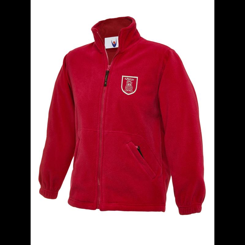 Full Zip fleece jacket in red, childrens size, embroidered School logo left breast.