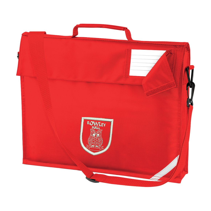 Red book bag with shoulder strap, embroidered School logo to front.