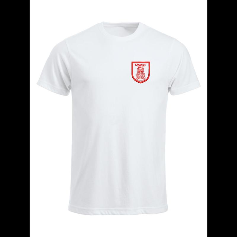 Cotton crew neck t shirt embroidered School logo left breast.