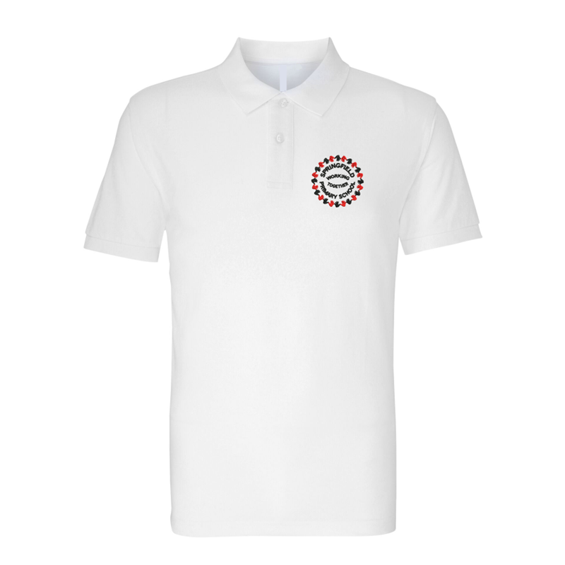 School Poloshirt in white with logo embroidered left breast.