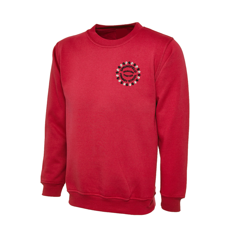 Crew neck Sweatshirt in red embroidered School logo left breast.