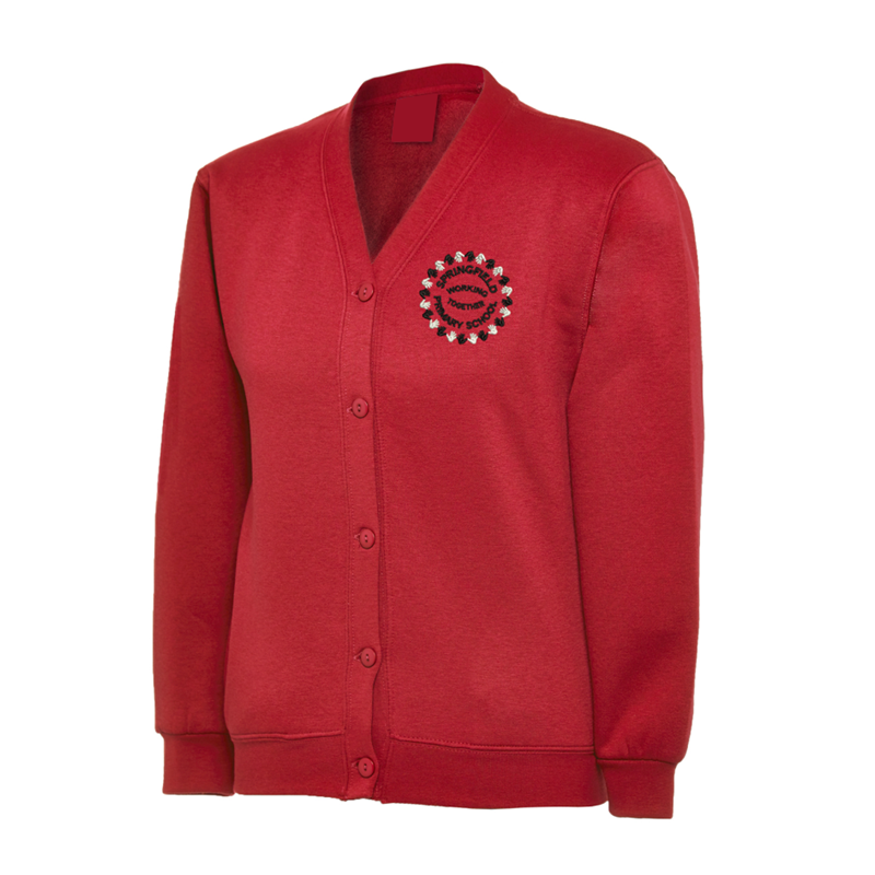 Cardigan Sweatshirt in red embroidered School logo left breast.