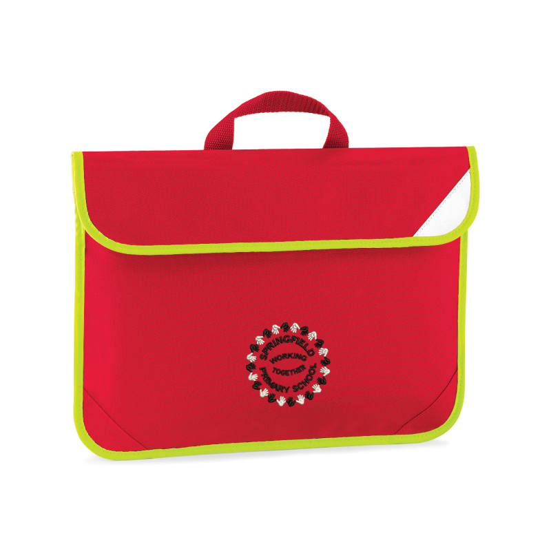 Red Bookbag with Hi Viz edge embroidered with School logo to one side.