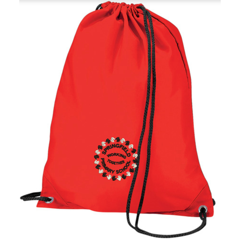 Drawstring PE bag embroidered with School logo to one side.