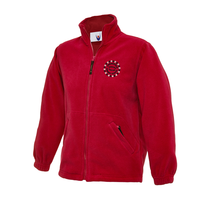 Full zip fleece jacket in red, School logo embroidered to left breast.
