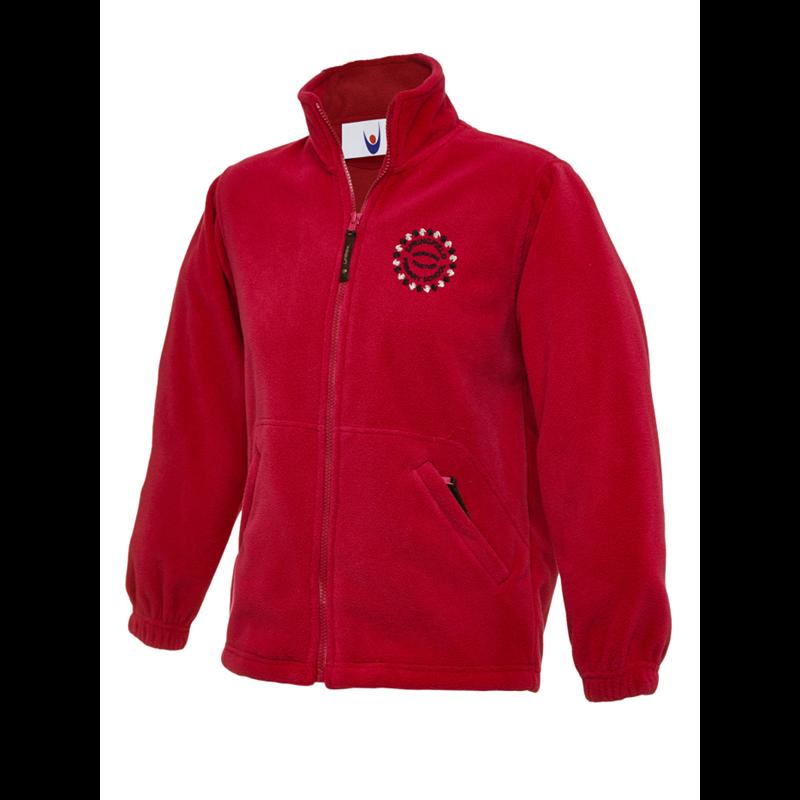 Full zip fleece jacket in red, School logo embroidered to left breast.